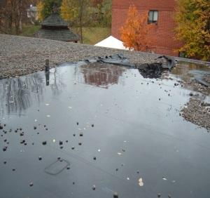 Ponding Water on Commercial Roofing